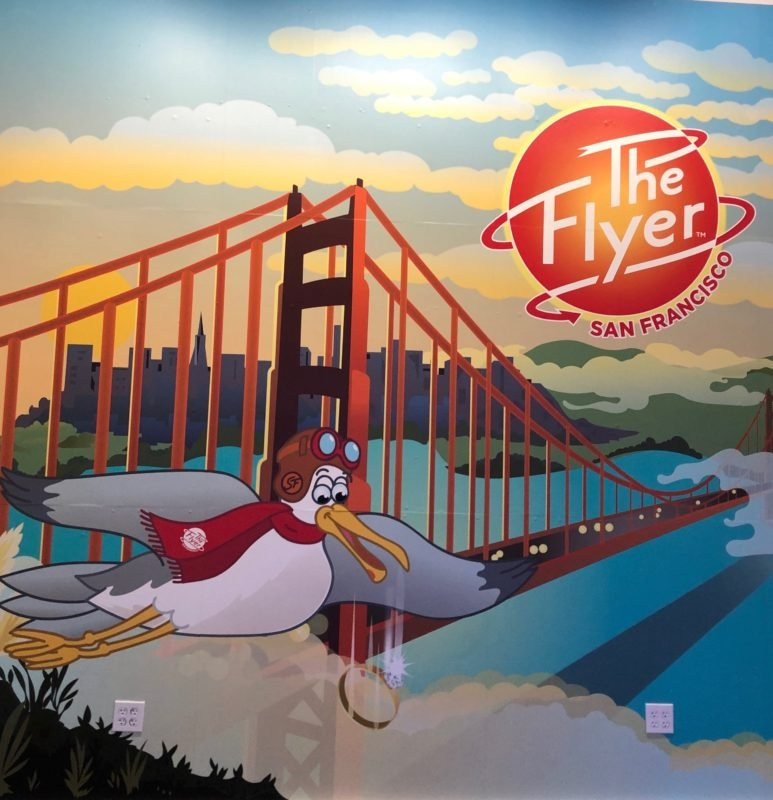 The Flyer San Francisco mural with seagull mascot & golden gate bride
